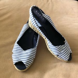 Ralph Lauren Cassara Striped Wedge Sandal - Sz 8